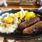 ブロンコビリーの極み炭焼きがんこハンバーグ&ガーリックビーフライス コンビ ランチ